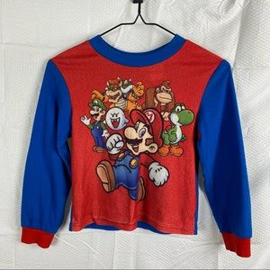 Boy's Super Mario Blue & Red Long Sleeve Graphic Pullover T-Shirt Size 8
